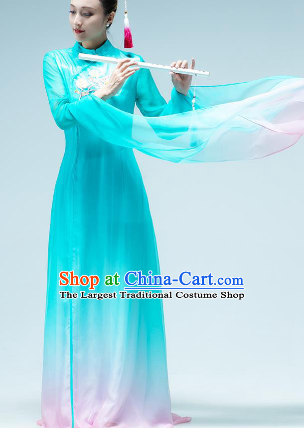 Traditional China Classical Dance Stage Show Fan Dance Costume Umbrella Dance Blue Qipao Dress