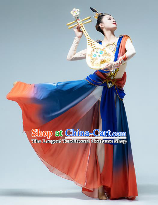 Traditional China Classical Dance Outfits Flying Apsaras Group Dance Stage Show Costume