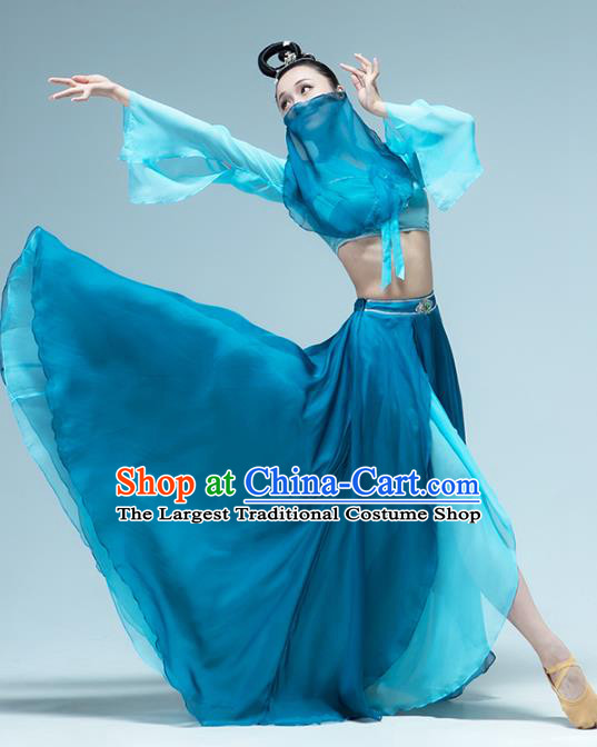 Traditional China Woman Group Dance Costume Classical Dance Stage Show Blue Outfits