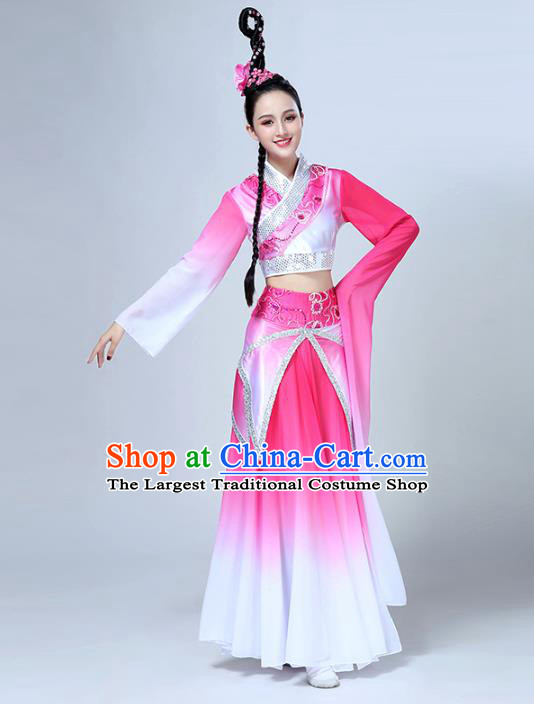China Traditional Peach Blossom Dance Group Dance Costume Classical Dance Stage Show Pink Dress Outfits