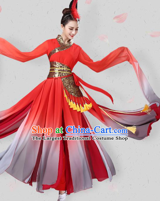 China Traditional Fan Dance Group Dance Water Sleeve Red Dress New Year Classical Dance Costume