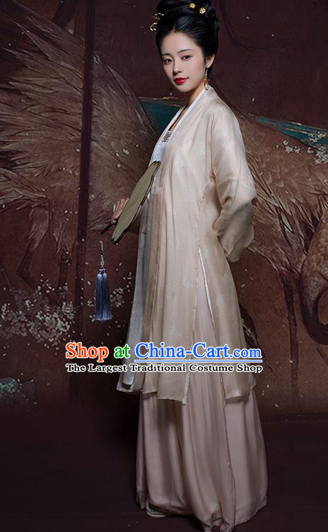 China Traditional Song Dynasty Young Mistress Historical Clothing Ancient Patrician Lady Hanfu Costumes
