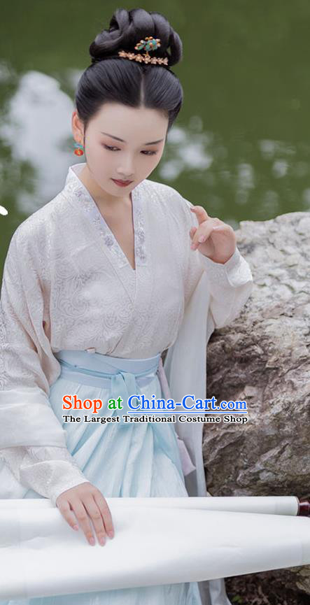 China Song Dynasty Court Beauty Historical Costumes Ancient Imperial Consort Hanfu Traditional Clothing