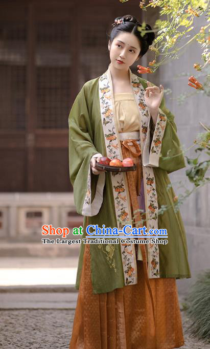 China Ancient Patrician Beauty Embroidered Hanfu Dress Traditional Song Dynasty Nobility Lady Historical Clothing Complete Set