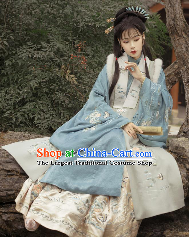 Traditional China Ming Dynasty Historical Clothing Ancient Noble Woman Hanfu Dress Apparels Full Set
