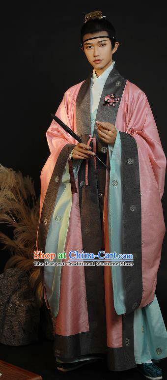 China Ancient Ming Dynasty Taoist Historical Clothing Priest Frock Full Set for Men