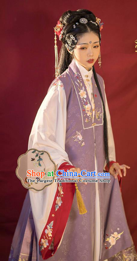 China Traditional Embroidered Hanfu Clothing Ancient Ming Dynasty Royal Princess Historical Costumes Full Set