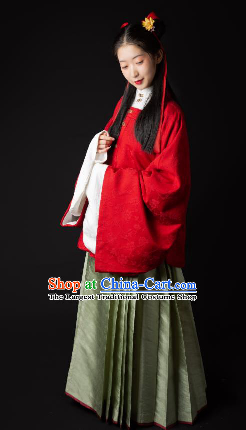 China Ming Dynasty Young Beauty Historical Clothing Ancient Patrician Lady Hanfu Costumes Full Set