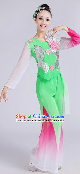 Chinese Folk Dance Green Outfits Umbrella Dance Clothing Fan Dance Stage Performance Costume