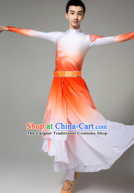 Chinese Classical Dance Costumes Stage Performance Clothing Opening Dance Orange Outfits for Men