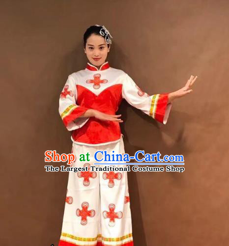 China Folk Dance Yangko Dance Costume Fan Dance Stage Performance Outfits Clothing