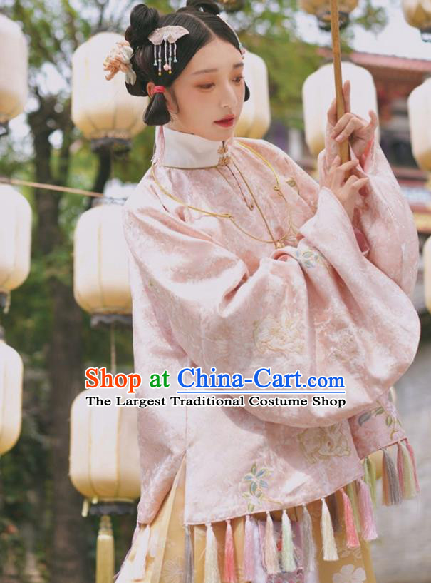China Ancient Nobility Lady Hanfu Clothing Traditional Ming Dynasty Patrician Female Embroidered Costumes Full Set