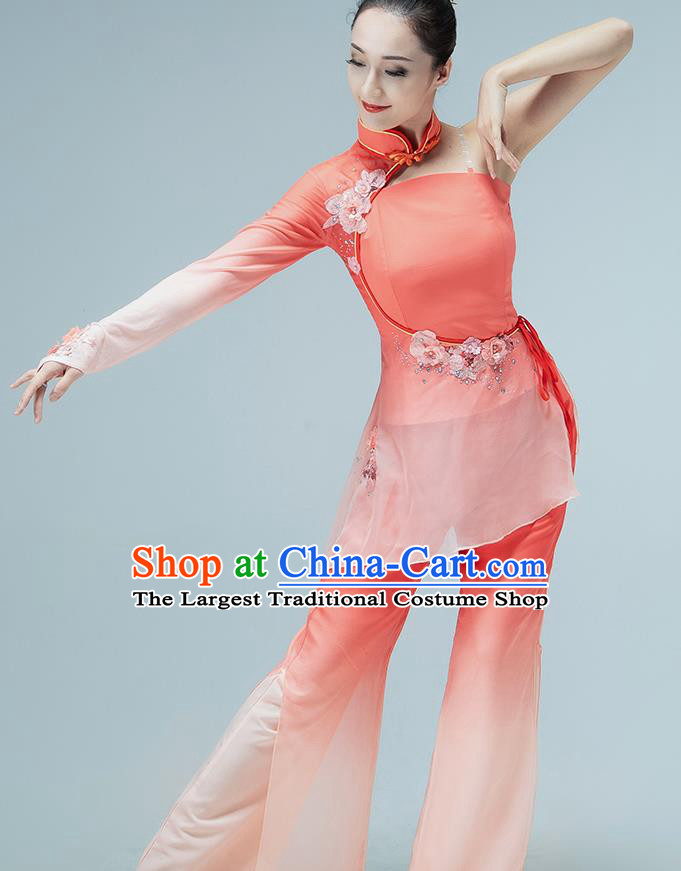 Chinese Jiaozhou Yangko Dance Stage Performance Clothing Folk Dance Fan Dance Pink Outfits