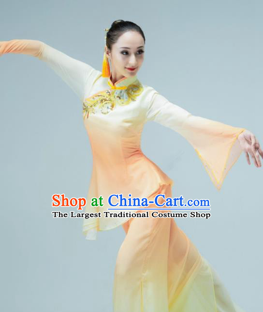 Chinese Folk Dance Fan Dance Orange Outfits Jiaozhou Yangko Dance Stage Performance Clothing