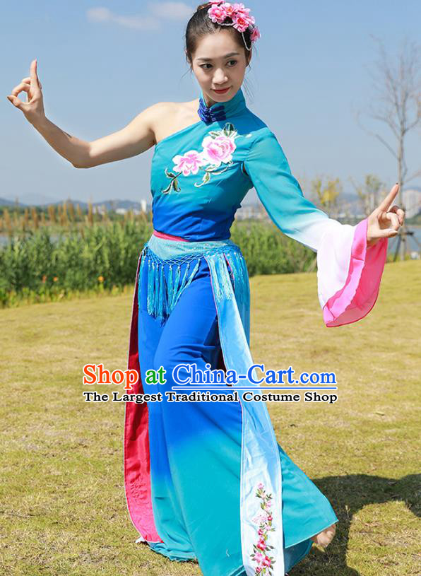 Chinese Fan Dance Clothing Folk Dance Yangko Dance Stage Performance Blue Outfits