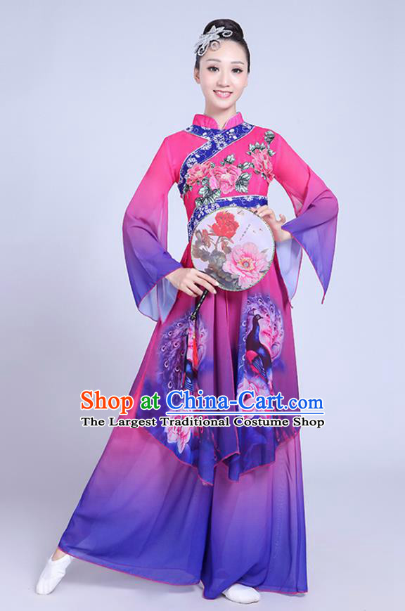 China Fan Dance Costume Spring Festival Gala Yangko Dance Purple Outfits Folk Dance Clothing