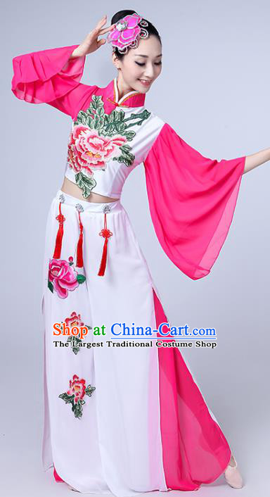 China Spring Festival Gala Yangko Dance Embroidered Peony Outfits Folk Dance Clothing Fan Dance Costume