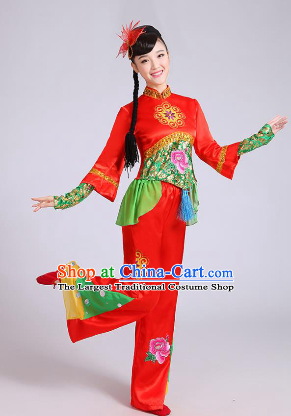 China Yangko Dance Red Outfits Folk Dance Clothing Fan Dance Stage Performance Costume