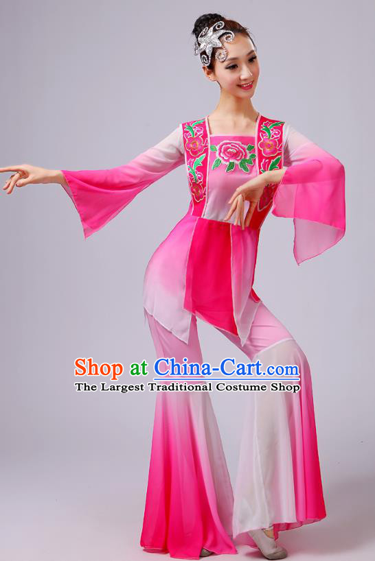 China Yangko Dance Embroidered Peony Pink Outfits Folk Dance Stage Performance Clothing Fan Dance Costume