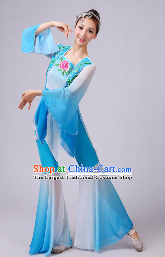 China Fan Dance Costume Yangko Dance Embroidered Peony Blue Outfits Folk Dance Stage Performance Clothing