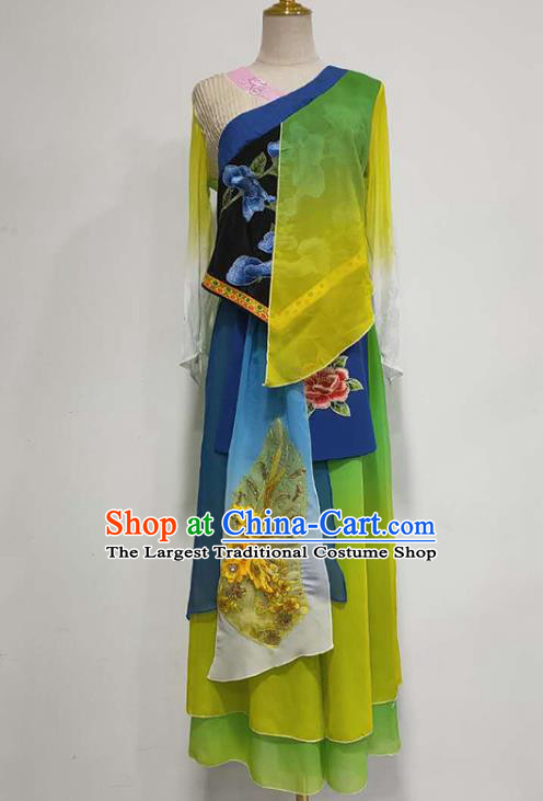 China Fan Dance Stage Performance Costume Classical Dance Green Outfits Umbrella Dance Clothing