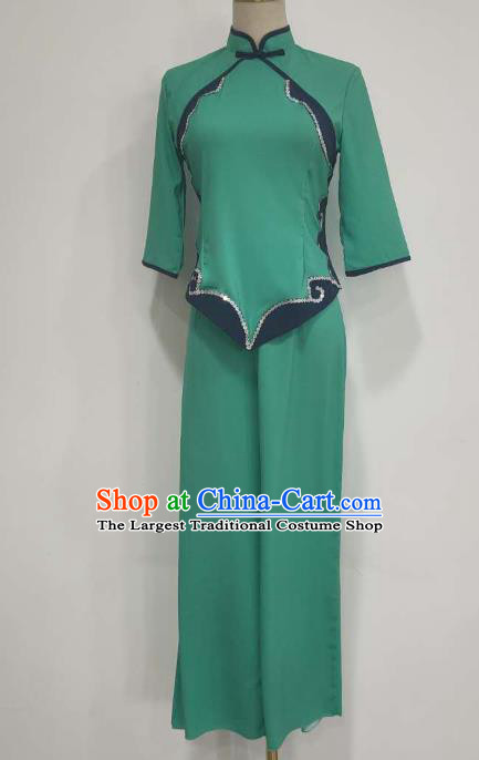 China Folk Dance Costume Fan Dance Green Outfits Yangko Dance Clothing