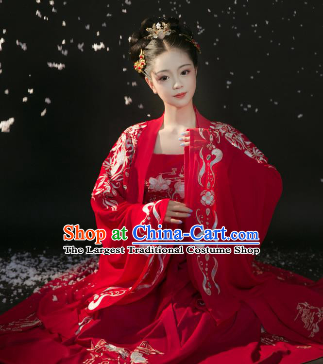 China Ancient Palace Lady Red Hanfu Dress Clothing Traditional Tang Dynasty Wedding Historical Costumes Full Set