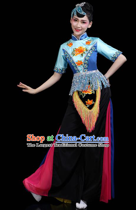 China Traditional Fan Dance Stage Performance Outfits Folk Dance Yangko Dance Clothing