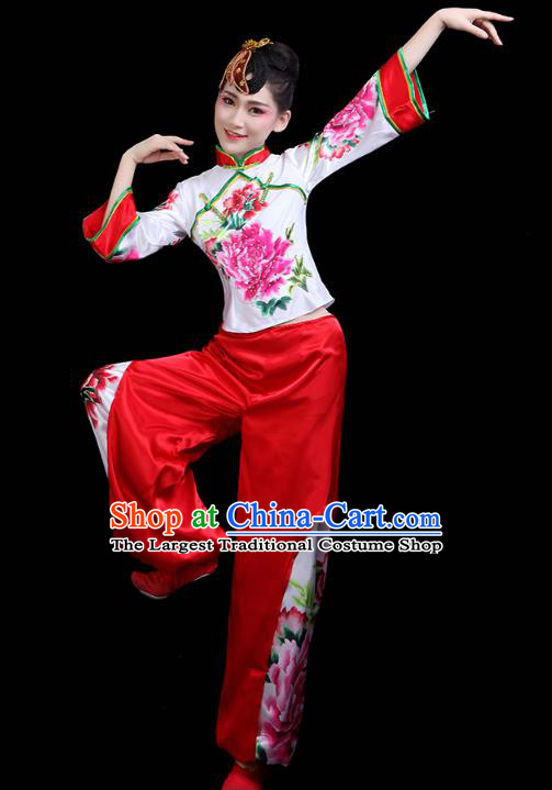 China Traditional Folk Dance Stage Performance Printing Peony Outfits Yangko Dance Fan Dance Clothing