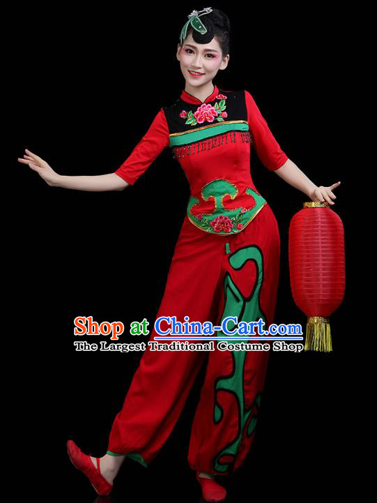 China Traditional Folk Dance Stage Performance Red Outfits Yangko Dance Fan Dance Clothing