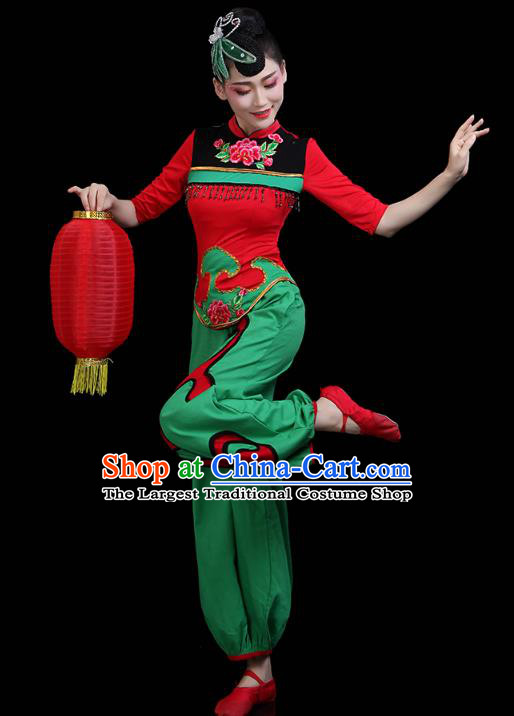China Jiaozhou Yangko Dance Clothing Traditional Folk Dance Fan Dance Green Outfits