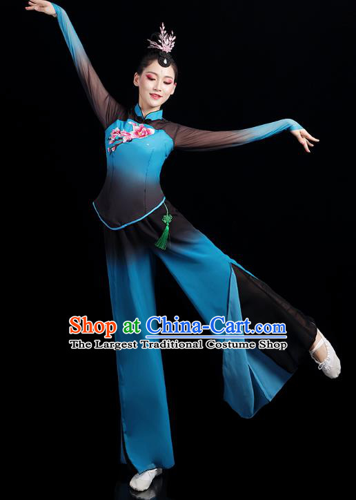 China Folk Dance Competition Clothing Group Fan Dance Costume Yangko Dance Blue Outfits