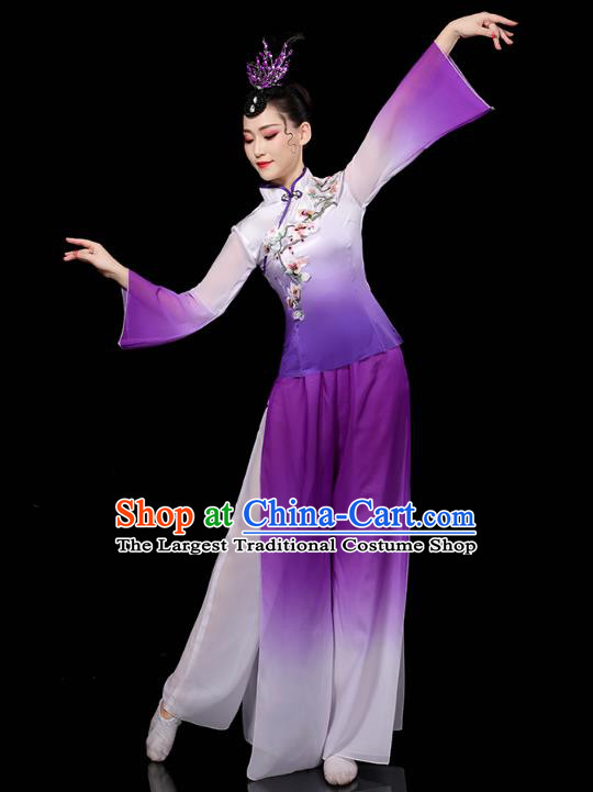 China Traditional Fan Dance Costume Folk Dance Embroidered Purple Outfits Yangko Dance Performance Clothing