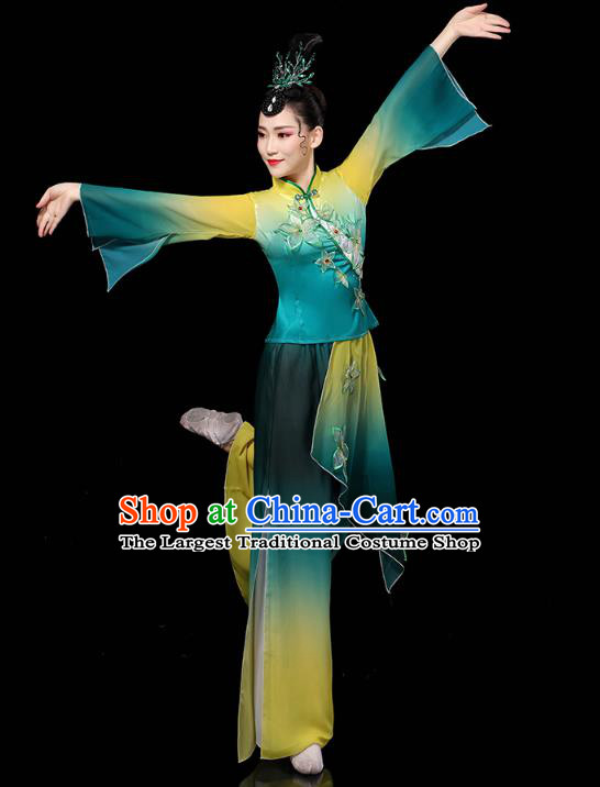 China Yangko Dance Performance Clothing Traditional Fan Dance Costume Folk Dance Embroidered Green Outfits