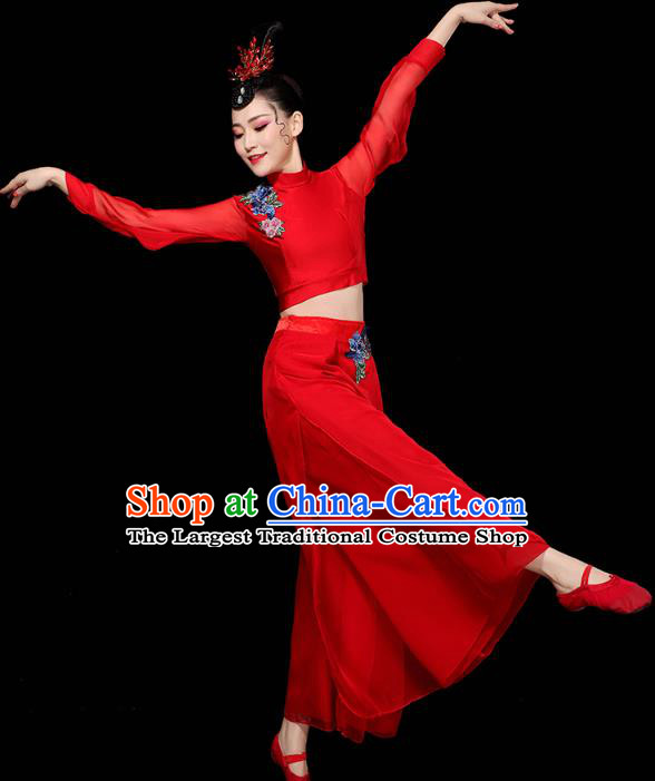 China Traditional Yangko Group Dance Clothing Fan Dance Costume Folk Dance Red Chiffon Outfits