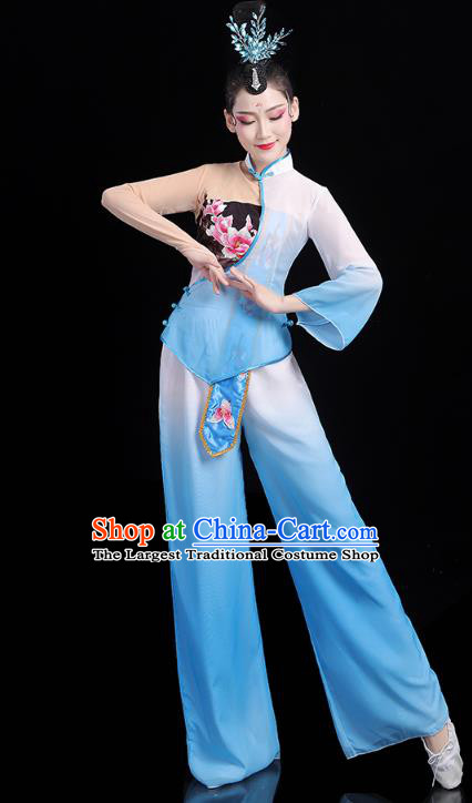 China Traditional New Year Yangko Dance Clothing Fan Dance Costume Folk Dance Blue Outfits