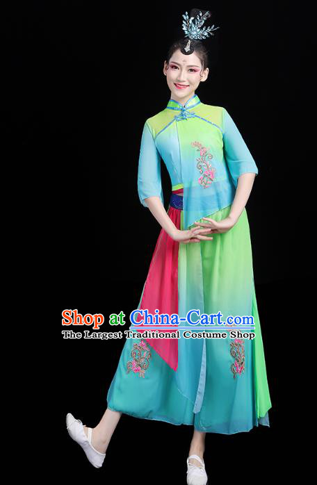 China Folk Dance Green Outfits Traditional New Year Yangko Dance Clothing Fan Dance Costume