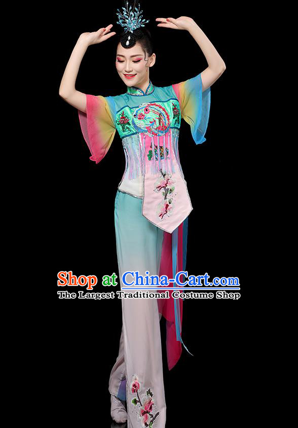 China Folk Dance Embroidered Outfits Yangko Dance Performance Clothing Traditional Fan Dance Costume