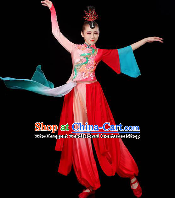 China Fan Dance Clothing Traditional Folk Dance Yangko Dance Performance Red Outfits