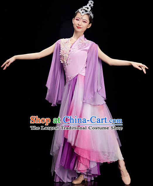 China Umbrella Dance Clothing Classical Dance Lilac Dress Traditional Woman Solo Dance Costume