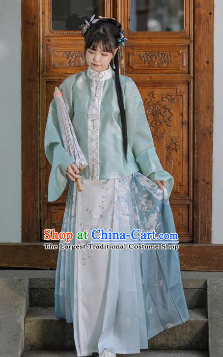 China Ancient Ming Dynasty Patrician Lady Historical Clothing Traditional Hanfu Dress Apparels Full Set