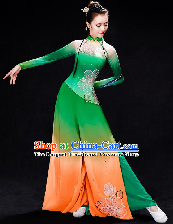Chinese Umbrella Dance Clothing Traditional Classical Dance Performance Costumes Fan Dance Green Outfits