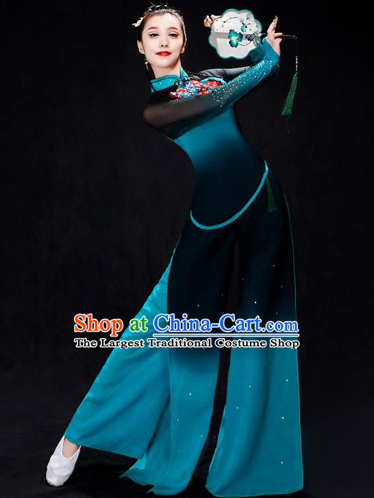 China Fan Dance Stage Performance Clothing Folk Dance Costume Yangko Dance Blue Uniforms