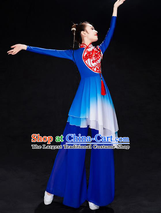 China Folk Dance Drum Dance Costume Yangko Dance Royalblue Uniforms Fan Dance Stage Performance Clothing