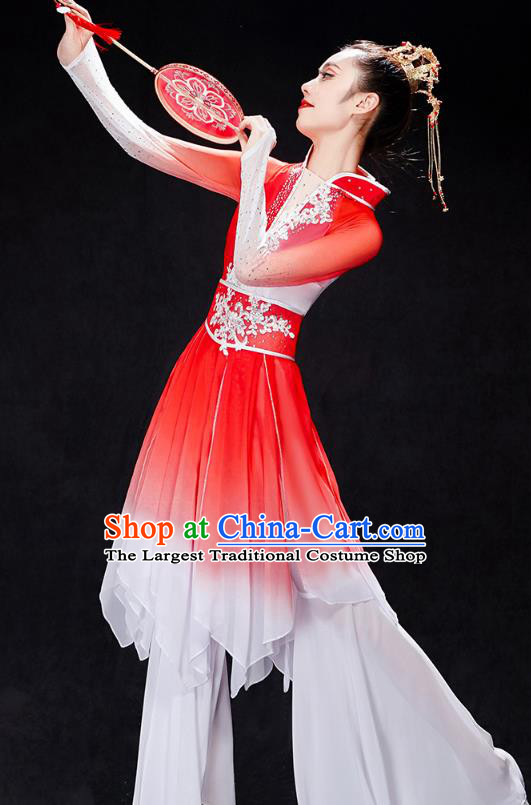China Stage Performance Clothing Folk Dance Fan Dance Costume Yangko Dance Red Uniforms