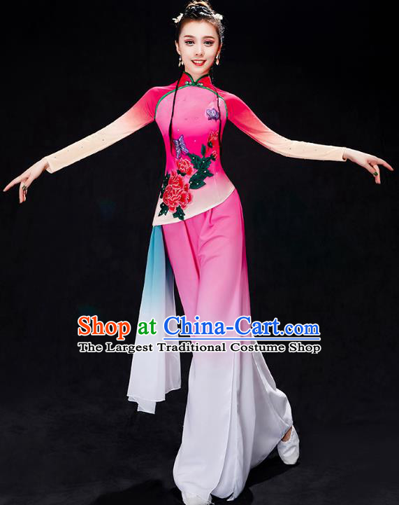 China Yangko Dance Rosy Uniforms Fan Dance Stage Performance Clothing Folk Dance Costume